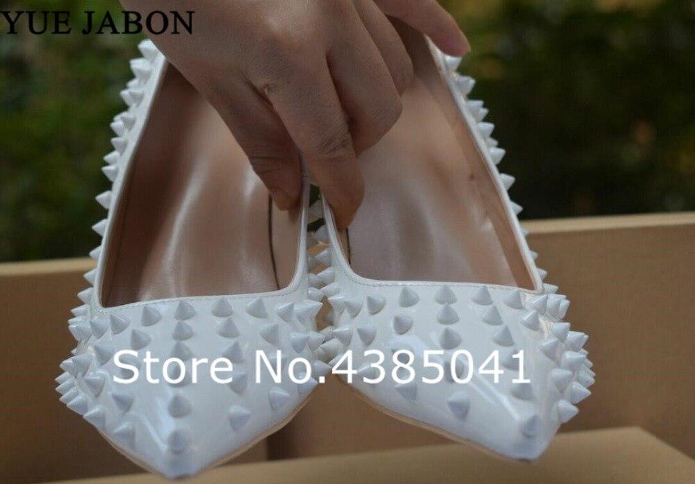 Classique Yue Parti Chaussures Goujons 2 Jabon Mode Lady picture Rivets picture Mince Hauts Pointu 3 De Spike Talons 1 Bout Sexy Femmes Mariage Picture Blanc DIWHE29