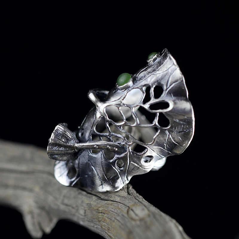 100% 990 เงินสเตอร์ลิงแหวนผู้หญิง Original Design Handmade Vintage Hollow Lotus Leaces ดอกไม้แหวนหยกเครื่องประดับ SR31