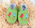 soft leather baby shoes green shoes two birds shoes toddler shoes