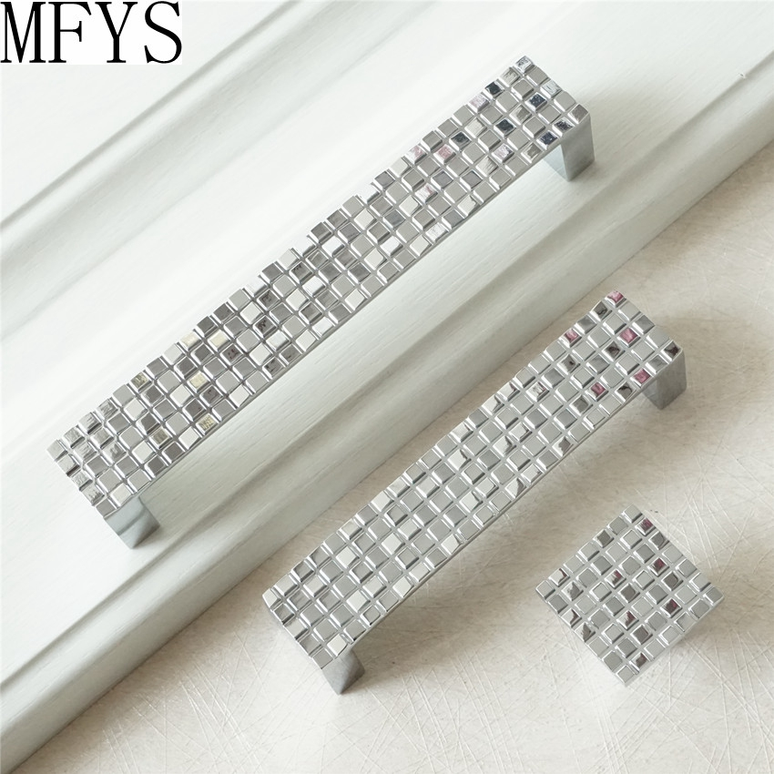 Dresser Pull Drawer Pulls Handles Knobs Shiny Silver Mosaic Metal Square / Kitchen Cabinet Knob Handle Pull Furniture Hardware