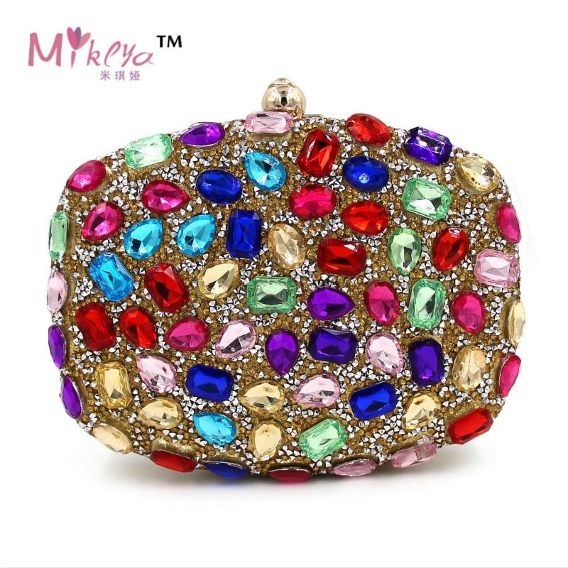 Mujeres de Lujo Del Diamante Del Partido Cadenas Monedero Coloful Crystal Bolsa