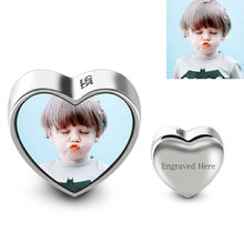 Wholesale Photo Heart Charm DIY Jewelry For Bracelet and Necklace Memory Gift(China)