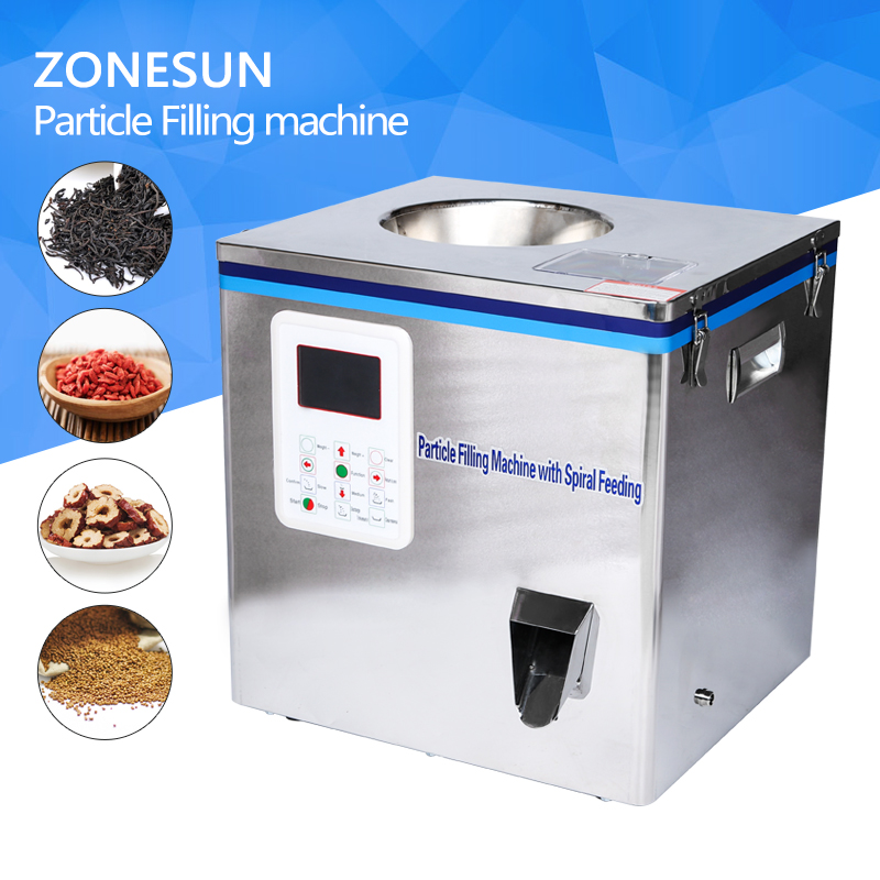 ZONESUN Tea Packaging machine sachet filling machine can filling machine,granule medlar automatic weighing machine powder filler cursor positioning fully automatic weighing racking packing machine granular powder medicinal filling machine accurate 2 50g