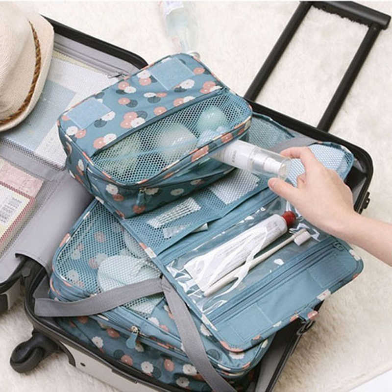 Perjalanan Tas Kosmetik Wanita Makeup Casing Perlengkapan Mandi Organizer Penyimpanan Tahan Air Neceser Gantung Kamar Mandi Mencuci Tas