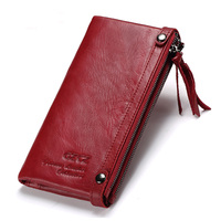 Real Leather Women Long Wallet Phone Cases 5.5inch For iPhone Female zipper clamp for money Clutch Coin Purse Card Holder
