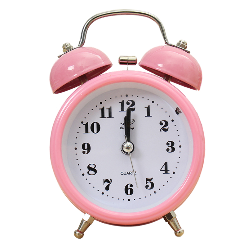 Portable Classic Alarm Clock Silent Double Bell Quartz Movement Bedside luminova Best Quality 5 color