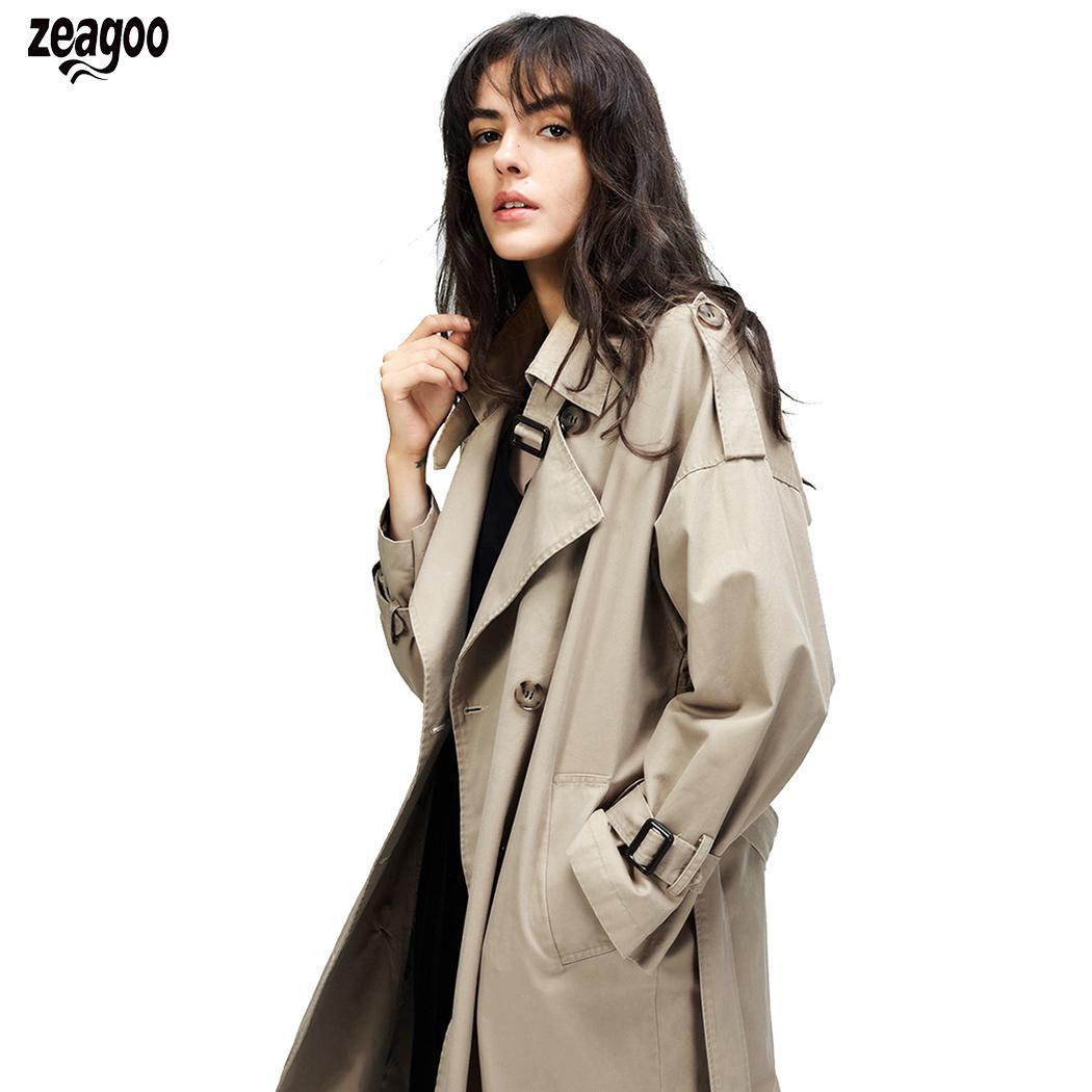 Women Casual Long Sleeve Turn-down Collar Solid Side Button Split Loose   Trench   Coat With Calf Length Belt