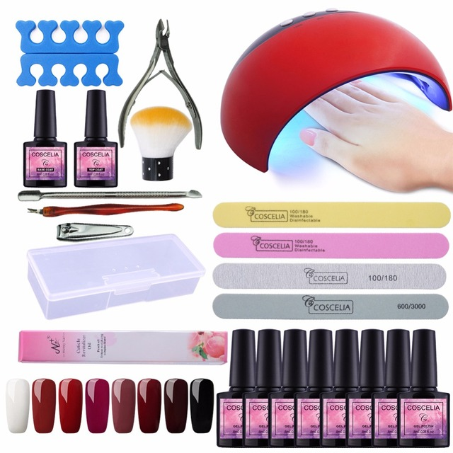 Manicure Set Of Tools Nail Kit 24w Uv Led Lamp 8pcs Gel Polish