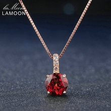 Lamoon 7mm 1.5ct 100% Natural Round Red Garnet 925 Sterling Silver Chain Pendant Necklace Women Jewelry Rose Gold S925 LMNI040
