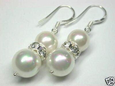 Charme twins 8 - 10 mm blanc mer noire shell perle perles crochet boucles doreilles