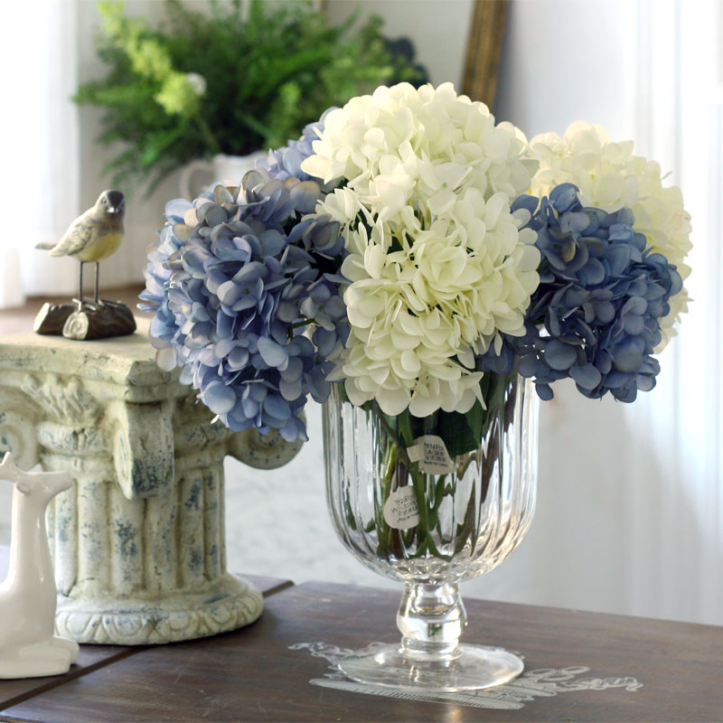 Elegant French 5 Flower Hydrangea Flowers Vintage Flower Family Party Living Room Decorative Flowers hydrangea flower cloth art