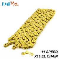 Steel MTB Bike Chain 11 Speed Hollow X11 EL 116 Link Gold Bicycle Cycling Chain For Road Mountain Bike Parts