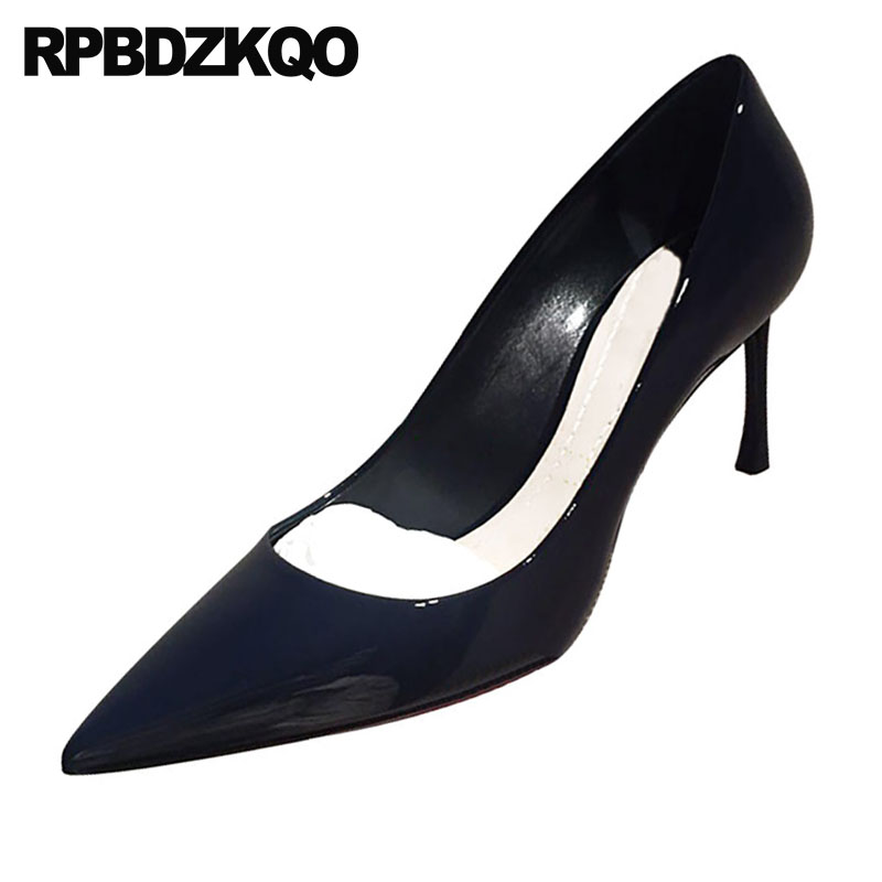 Scarpin Navy Blue Pumps Dress Women Pointed Toe Size 4 34 White 3 Inch Classic 33 Shoes Patent Leather Medium Heels High 2018 spring kids clothes navy long sleeve pullover striped sports suit hot sale new 2018 casual boys clothing set