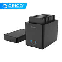 ORICO 5 Bay Magnetic-type 3.5 inch Hard Drive Enclosure USB3.0 to SATA3.0 3.5 in HDD Case Support UASP 12V6.5A Power MAX 50TB