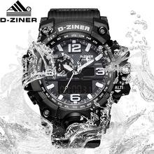 D-ZINER mężczyźni Dive cyfrowy wodoodporny zegarek LED zegar kwarcowy Sport zegarek męski Relogios Masculino data tydzień mężczyźni S Shock tanie tanio Bandbang 21cm Moda casual QUARTZ Podwójny Wyświetlacz 3Bar Klamra CN (pochodzenie) Z tworzywa sztucznego 15mm Kwarcowe Zegarki Na Rękę