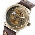 Relógios De Pulso Homens Esqueleto de Bronze do vintage Pulseira de Couro Relógio Masculino Steampunk Relógios Casuais Relógio Mecânico Automático