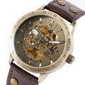 Vintage Bronze Men Wristwatches Skeleton Male Clock Leather Strap Steampunk Casual Watches Automatic Mechanical Watch