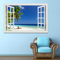 Summer Beach Blue Sky Coconut Tree High Quality 3D Wall Sticker Seascape Removable Wallpaper Creative Window