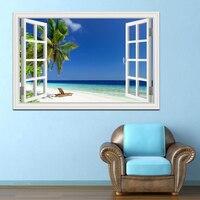 Summer Beach Blue Sky Coconut Tree High Quality 3D Wall Sticker Seascape Removable Wallpaper Creative Window