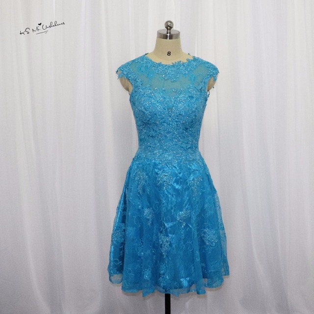 Turquoise Lace Short Homecoming Dresses Cap Sleeve 2017 Open Back ...