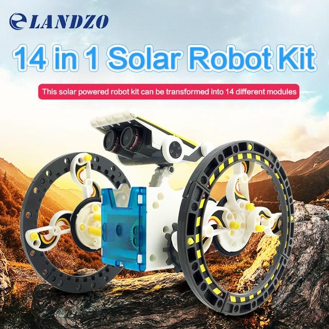Novo Kit 14-em-1 Solar Robot Educacional Energia Solar Robot Toy DIY Montados Brinquedos Para Crianças Car Boat DIY Animais Robô