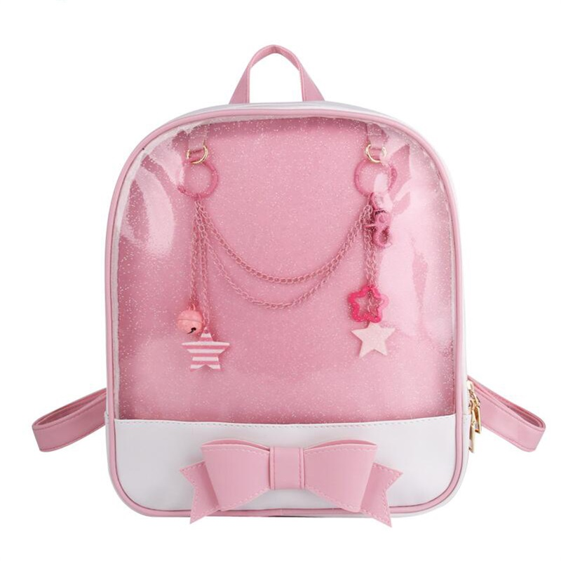 Korea Cute Clear Transparent Bow Backpack Ita Bag Harajuku School Bags For Girls Rucksack Kawaii Backpack PU Itabag 6 Colors