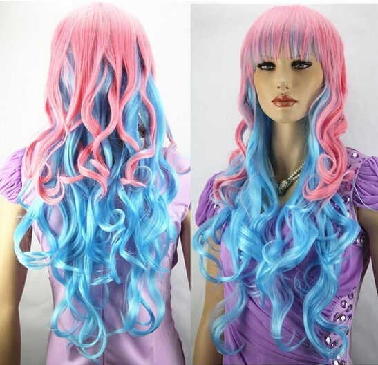 Бесплатная доставка розовый и голубой длинные вьющиеся косплей полный парик -