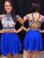 Двойка линия Высокий воротник Мини Короткие Королевский синие Бальные платья Кристалл бисера коктейльное короткое платье на выпускной