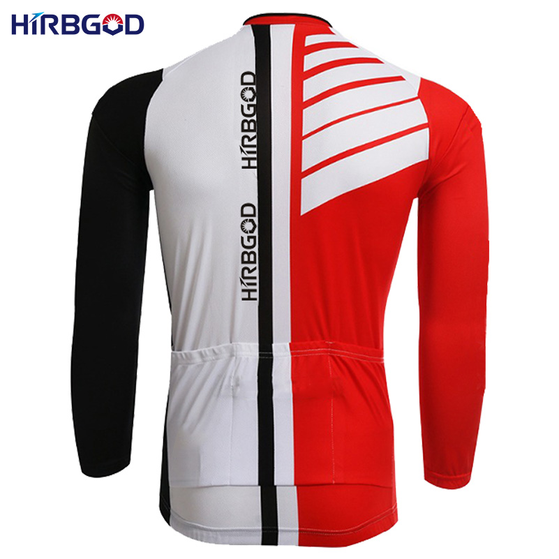 HIRBGOD men s long sleeve bicycle suits red black white striped maillot  jersey + pants dh mtb wear cycling set 3bd939952