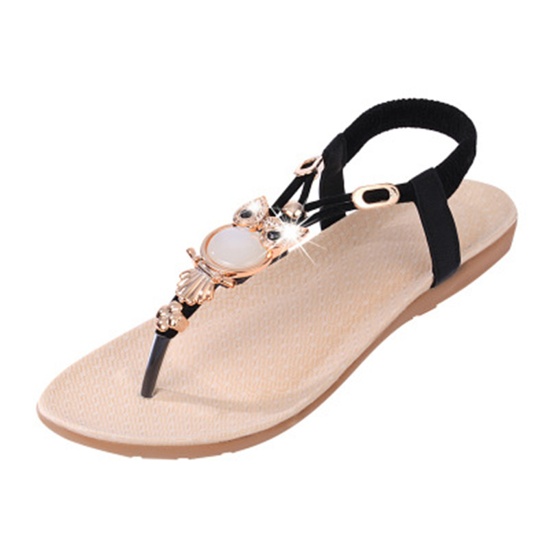 2018 Women Sandals Summer Fashion  Beach Shoes owl Rhinestones Flats Heel  Gladiator  Flip-flop Sandals Women's Shoes free shipping candy color women garden shoes breathable women beach shoes hsa21