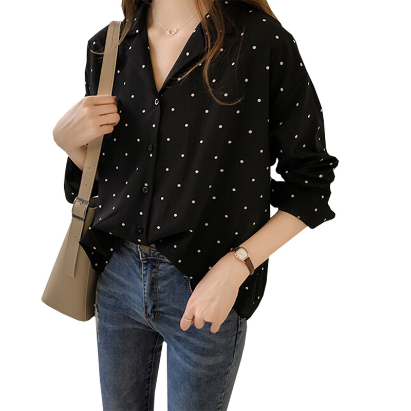 2019 Spring Women's New Hong Kong Taste Wave Printed Chiffon Shirt Female Long-Sleeved Shirt Han Fan Shirt Bottoming