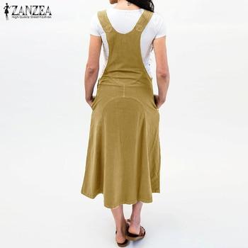 ZANZEA 2019 Summer Long Dress Women Casual Vintage Dresses Mid Calf Vestidos Pockets Strapless Sundress Plus Size S-5XL Overalls 2