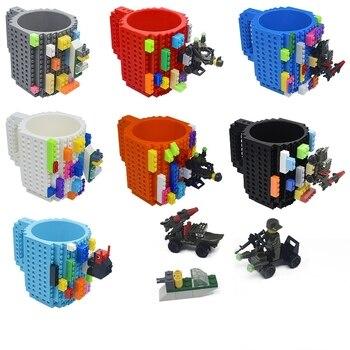 Creative 350ml Drinkware Building Blocks Mugs DIY Coffee Cup Block Puzzle Mug Personality Water Cup Build-On Brick Milk Mug Gift