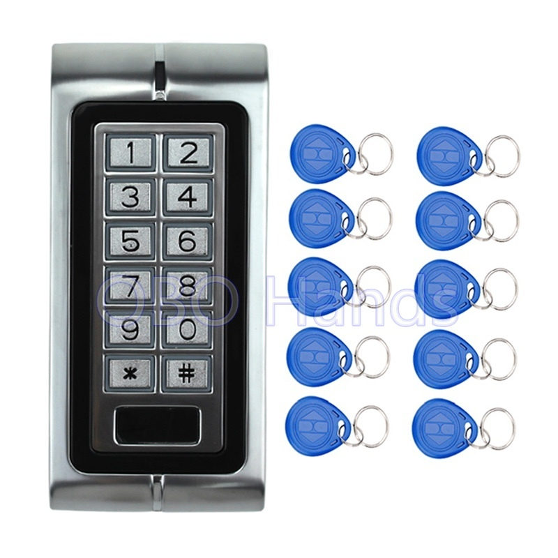 Free Shipping!125KHZ Metal Access Controller Keypad Waterproof RFID Door Lock Access Control System K2 Model+10 pcs RFID Keyfobs graceful short side bang fluffy natural wavy capless human hair wig for women