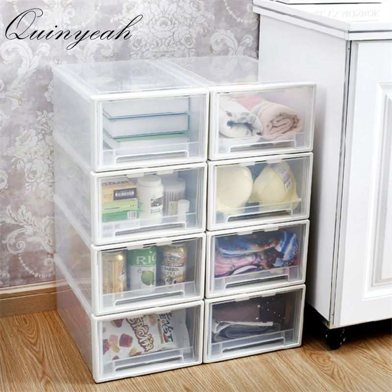 High Quality Thickened Single Layer Plastic Drawer Storage Box Organizer  Transparent Toys Shoes Storage Box