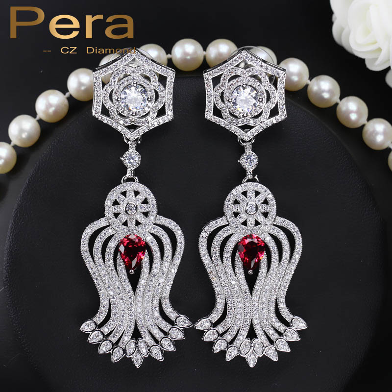 Pera 4 Color Choice European Style Big Red Stone Pave Women Party Elegant Long Tassel Dangle