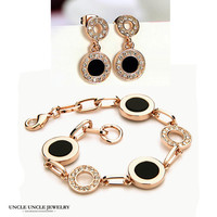 Classic FREE SHIPPING 18K Real Gold Plated Classic Modern Polka Dot Design Lady Jewelry Sets Bracelet