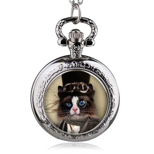 Middle Size Silver Steampunk Cat Pocket Watch Necklace Men Womens Watch Boys Gir