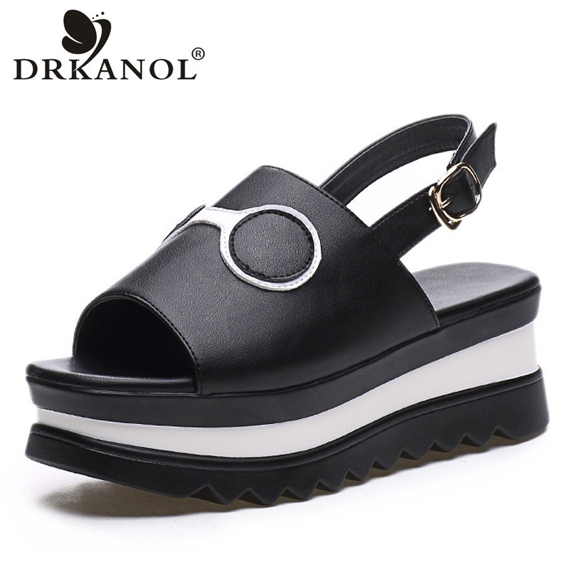 DRKANOL 2018 Women Platform Sandals Summer Peep Toe Wedge Sandals Ladies Casual Shoes Black White High Heels Sandalia Plataforma muffin wedge high heel stretch women extreme fetish casual knee peep toe platform summer black slip on creepers boots shoes
