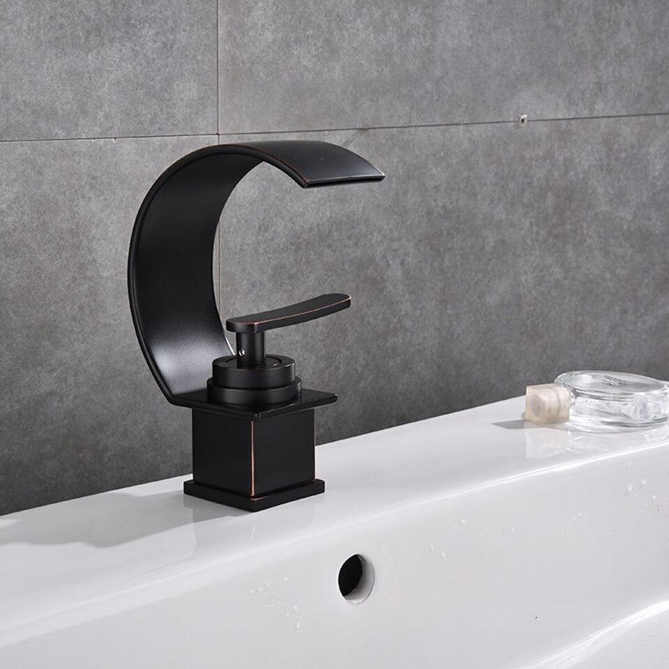 basin faucets waterfall bathroom faucet single handle basin mixer tap bath antique black faucet brass wc faucet sink water crane
