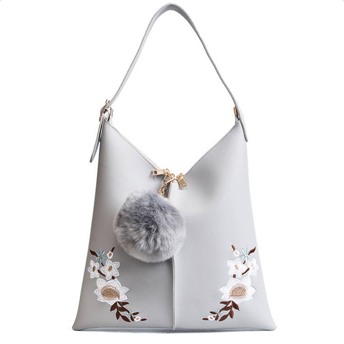 SFG HOUSE Embroidery flower women tote bag zipper solid ladies' s shoulder bag with hairball high quality 2017