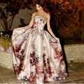 Myriam Fares 2016 Petal Power Print Celebrity Dresses Ball Gown Strapless Floor Length Beaded and Sequins Formal Evening Dresses