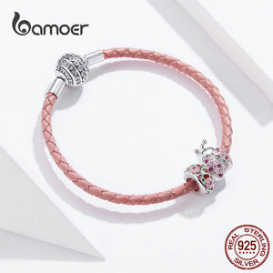 Image 2 - bamoer Pink Ladybug Insert and Flower Beads Silver Charm for Women Leather Bracelet Sterling Silver 925 Luxury Jewelry SCB823