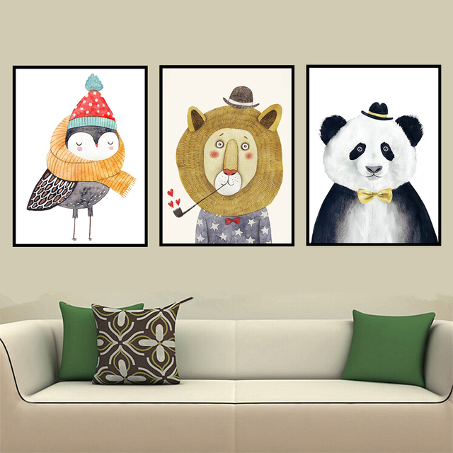 AZQSD Art Prints Poster Watercolor Nordic Animal Lion Bear Panda Hipster  Wall Picture Canvas Painting For