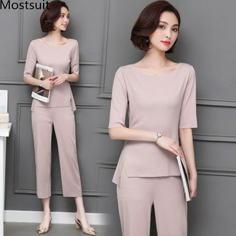 M-5xl Summer Two Piece Sets Women Plus Size Half Sleeve Tops And Pants Suits Pink Black Casual Office Elegant Women's Sets 2019 41