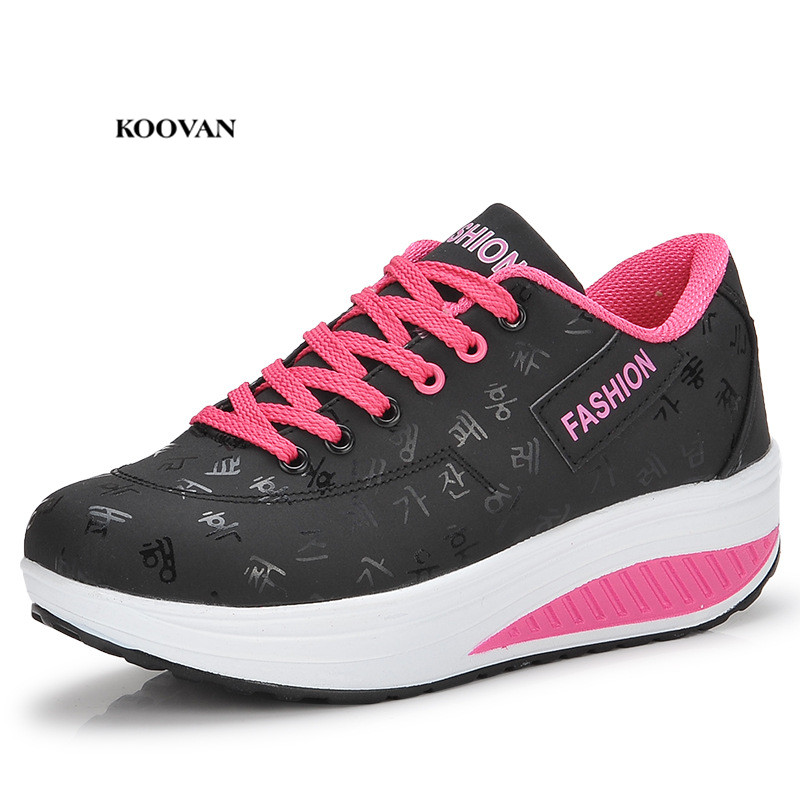 Koovan Women's Thick Bottom Flats 2018 Rocking Shoes Thick Shaky Sneakers Fashion Leisure Large Size Women's Shoes