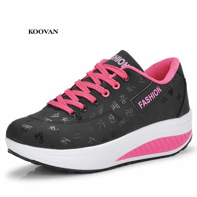 Koovan vrouwen Dikke Bodem Flats 2018 Rocking Schoenen Dikke Wankele Sneakers Mode Leisure Grote Maat Damesschoenen