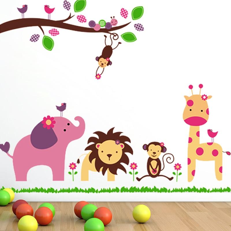 Elephant Monkey Lion Dekorativní vinylové samolepky na zeď Zvířata pro děti Nástěnné samolepky Domácí dekorace Doplňky