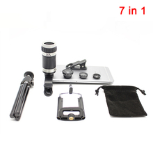 Buy online 2017 7in1 Camera Lens Kit 8X Zoom Telescope Telephoto Lenses Fish eye Wide Angle Macro Lentes For iPhone 5 6 6s 7 8 Cell phone