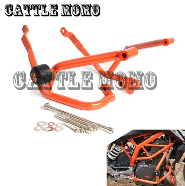Motorcycle Crash Bar Frame Engine Protection Guard Bumper For KTM 390 Duke 2013 2014 2015 2016 Motorcycle Bumpers Orange high quality for bmw r1200gs 2013 2014 2015 motorcycle upper engine guard highway crash bar protector silver